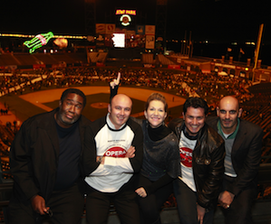 From Eric Owens (Capellio), Riccardo Frizza (conductor), Joyce DiDonato (Romeo), Saimir Pirgu (Tebaldo) and Vincent Boussard (director) at Saturday night's AT&T Park simulcast of <em>Rigoletto</em> Photo by Cory Weaver