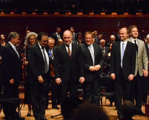 The End: final bow for the Berlioz on Sunday — Alexander Barantschik, Charles Dutoit, Jonathan Dimmock, Paul Groves, Ragnar Bohlin, Kevin Fox Photos by Janos Gereben