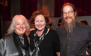 Helen and John Meyer flank Karen Ames at the launch event for last year's Stephanie Blythe recording