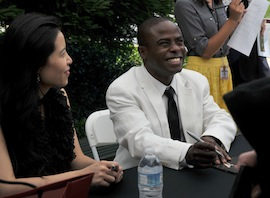 Gloria Chien and Anthony McGill sign CDs after their Carte Blanche concert Photo by Lilian Finckel