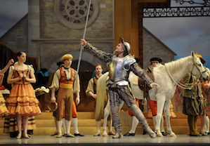 "Jim Sohm as Don Quixote, Bonita DeRosa's ""Estimation"" as the horse Rocinante Photo by Erik Tomasson"