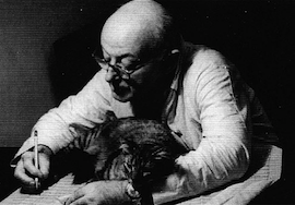 Henry Cowell with Colin McPhee's cat, early 1960s