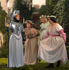 Warrior and would-be ladies: Jennifer Ashworth as Princess Ida, Michael Desnoyers as Cyril, Chris Uzelac as Florian and Robert Vann as Prince Hilarion Photos by Lucas Buxman