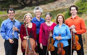 Left Coasters in Summer Reading: Jerome Simas (clarinet), Tanya Tomkins (cello), Eric Zivian (piano), Anna Presler (violin), Phyllis Kamrin (violin), and Kurt Rohde (viola) Photo by Jordan Murphy