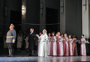 King Heinrich (Kristinn Sigmundsson) leads the wedding procession for Lohengrin (Brandon Jovanovich) and Elsa (Camilla Nylund) Photos by Cory Weaver