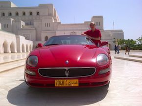Oman Royal Opera House Director General Christina Scheppelmann and her inexpensive Maserati; gas there is $1.20 a gallon