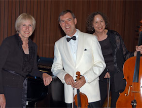 Roy Malan, in his last season as concertmaster of S.F. Ballet, with Trio Navarro's pianist Marilyn Thompson and cellist Jill Rachuy Brindel