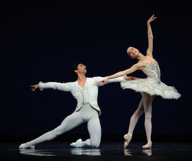 Mathilde Froustey and Davit Karapetyan in Gsovsky's <em>Grand Pas Classique</em> Photo by Erik Tomasson