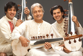 Sarod master Amjad Ali Khan, with sons Ayaan and Amaan