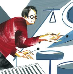 Steven Schick, solo recital on Feb. 14 Illustration by Ping Zhu/<em>The New Yorker</em>
