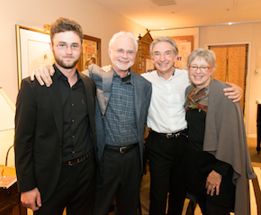 Composers Sam and John Adams with MTT, Deborah O'Grady (mother of Sam, wife of John, renowned photographer) <br> Photo by Kristen Loken