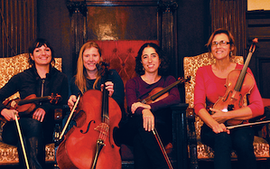 String Arcade Quartet: Celia Harris, violin; Robin Reynolds, cello; Alisa Rose, violin; Emily Onderdonk, viola Photo by Lorrie Murray