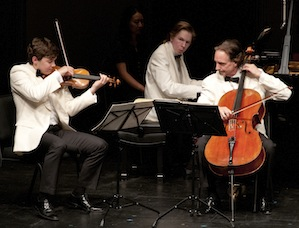 Benjamin Beilman, Juho Pohjonen, and David Finckel performing the Mozart Trio