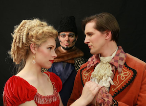 Pamina (Ellen Teufel) and Tamino (Brian Kuhl), Sarastro (Kirk Eichelberger) in the background Photo by Otak Jump