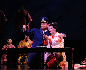 Tenor James Callon as BF Pinkerton and soprano Cecilia Violetta López as Cio-Cio-san. Photo by Pat Kir