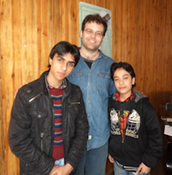 Kimball Gallagher With Students Elham and Milad at the Afghanistan National Institute of Music in Kabul, Afghanistan