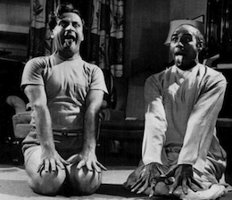 Yehudi Menuhin, with yoga instructor, 1953