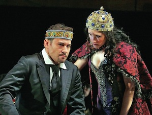 The King (Mariusz Kwiecien) questions his wife (Erin Morley) in <em>King Roger</em><br>Photos by Ken Howard
