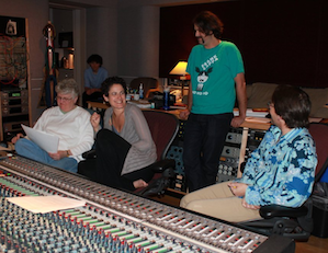 From left: Leslie Ann Jones and soprano Ann Moss, recording Moss's debut cd at Skywalker Ranch, wtih composer Liam Wade and pianist Steve Bailey. Photo by Jeff Kaliss