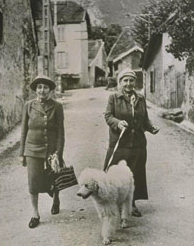 Alice B. Toklas and Gertrude Stein, with their dog Basket II, ca. 1941 Photo courtesy of The Bancroft Library