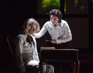 Milo Boland is a troubled boy and Laura Bohn his governess in The Turn of the Screw at West Edge Opera