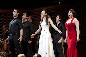 "Cheyenne Jackson (Tony), Alexandra Silber (Maria), Jessica Vosk (Anita) & The Jets during ""Tonight"""