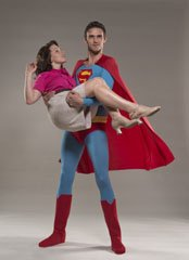 Superman (Lucas Coleman) rescues Lois Lane (Jen Brooks) 16 times by show's end Photos by Dave Allen