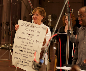 Flicka, with cue cards; Michael Morgan on the right Photos by Drew Altizer