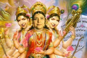 In Jeff Dunn's photo illustration, Lera Auerbach appears as the incarnation of Parvati, a goddess with the number of heads and arms that would explain the composer's productivity