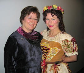 Barbara Heroux (left) directed <em>Yeoman of the Guard</em>, with Claire Kelm as Elsie Photo by Joe Giammarco