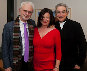 John Adams, Jenny Bilfield and Michael Tilson Thomas at the Bing Hall opener Photo by Steve Castillo