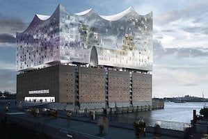 Hamburg's new concert hall in the sky, over the Elbe River