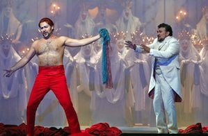 Ildar Abdrazakov's Mefistofele and Ramon Vargas' Faust were seen in European movie theaters Photo by Cory Weaver