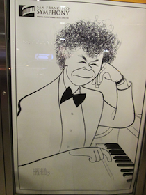 Hirschfeld's iconic portrait of Getty served as a poster outside Davies Hall Photos by Janos Gereben