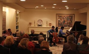 Cellist Matt Allen and pianist Yannick Rafalimanana perform at the Buksteins' house concert in Hillsborough. Photo by Jeff Kaliss