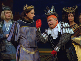 Robert Vann as Hilarion and Rick Williams as King Gama in the Lamplighters' <em>Princess Ida</em> <br>Photos by David Allen