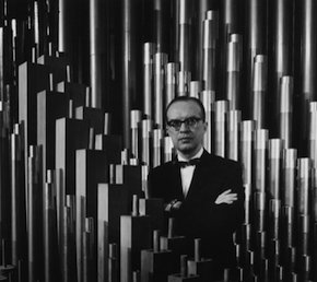 Lawrence H. Moe with the Hertz Hall organ 1966 portrait by Ansel Adams