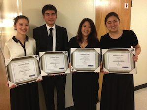 The Chiaroscuro Quartet, showing off their Galante Prize certificates