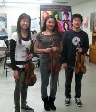 "Tiffany Shen, Sheena Rogers, and<br>Timothy Yu at an El Camino Youth<br>Symphony ""progress check""<br>Photo by Jeff Kaliss"