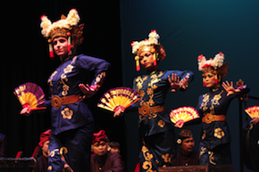 Gamelan dancers Anna Deering, Nina Herlina, Casey Lee Sims