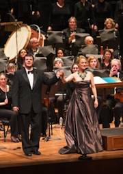 Brahms soloists Marnie Breckenridge and Eugene Brancoveanu are shown here when they appeared with the Choral Society in <em>Carmina Burana</em>