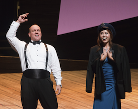 "Yujin Kim conquered as Marie, shown here with Scott Russell, performing ""Au bruit de la guerre"" from <em>The Daughter of the Regiment</em>"