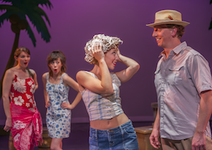 "Nellie Forbush (Madison Genovese) ""washing that man out of her hair,"" as she encounters Emile de Becque (Daniel Cameron) in Foothill Music Theatre's <em>South Pacific</em> Photo by David Allen"