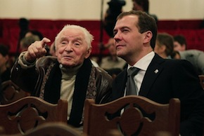 Yuri Grigorovich at the 2011 reopening of the Bolshoi Theater, with Dmitry Medvedev, who is either president or prime minister of Russia, depending on what Putin is not