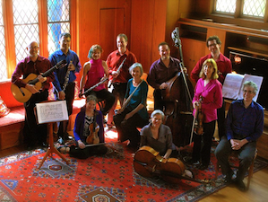 Back row: Michael Goldberg (guitar), Jerome Simas (clarinet), Andrea Plesnarski (oboe), Thomas Nugent (oboe), Stacey Pelinka (flute), Michel Taddei (double bass), Kurt Rohde (viola), Phyllis Kamrin (viola/violin), and Eric Zivian (piano); seated on floor: Anna Presler (violin), Tanya Tomkins (cello) Photo by Jeanette Yu