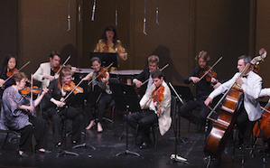 A section of the Mozartians, with first violin Jorja Fleezanis on the left, boldly improvising bassist Scott Pingelon the right Photos by Tristan Cook