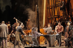 The music to continue: Met Chorus in Act 2 of <em>Trovatore</em> Photo by Ken Howard/The Metropolitan Opera