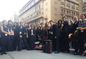 Napa Valley Youth Symphony members in front of Carnegie Hall