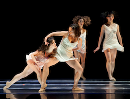 ODC's Natasha Adorlee Johnson, Vanessa Thiessen, Anne Zivolich, and Yayoi Kambara in <em>Breathing Underwater</em> Photo by Margo Moritz