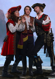 Deborah Rosengaus as Ruth, Samuel Faustine as Frederic, and Ben Brady as the Pirate King in <em>The Pirates of Penzance</em> Photo by David Allen